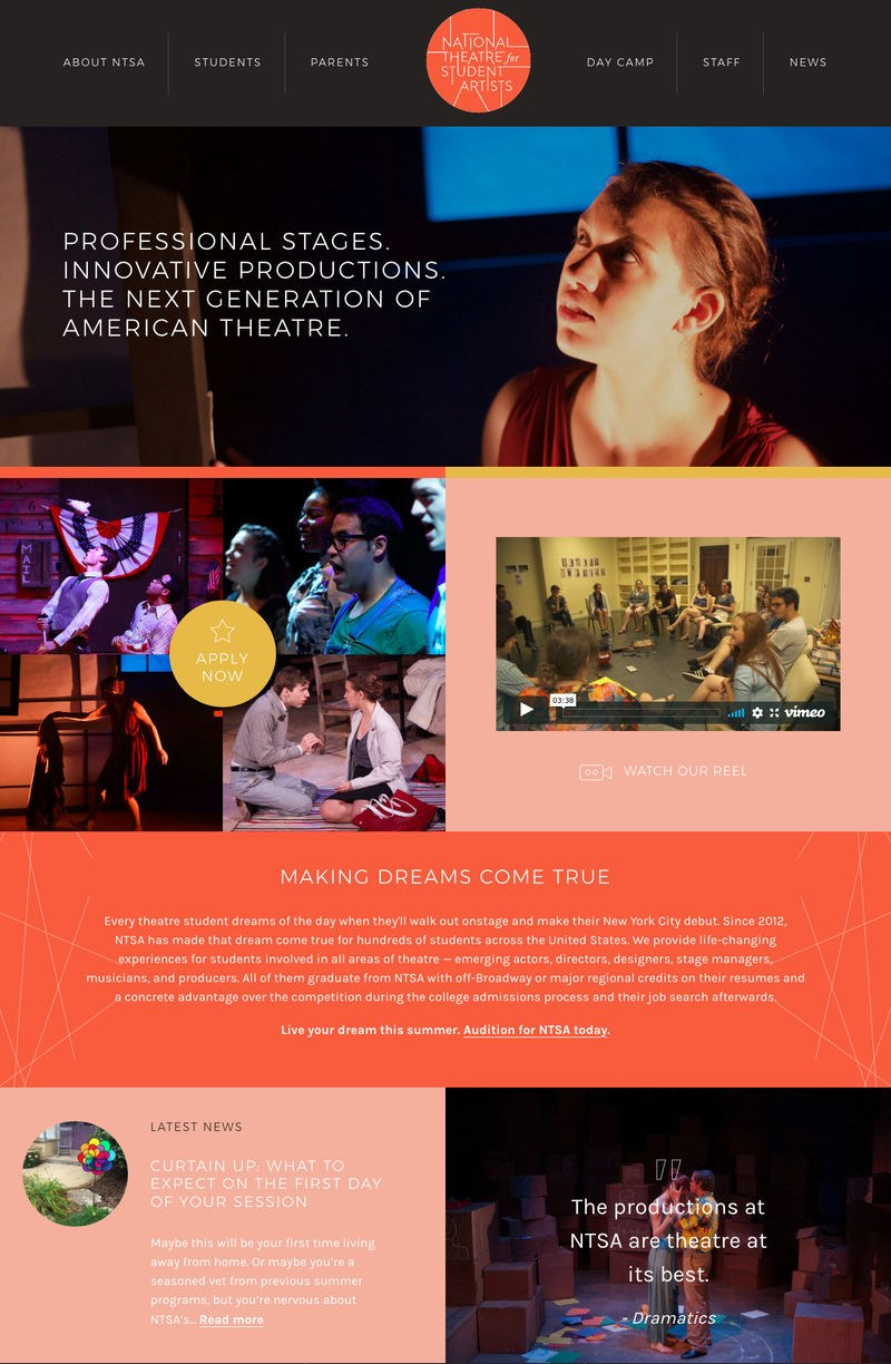 web design for National Theatre for Student Artists