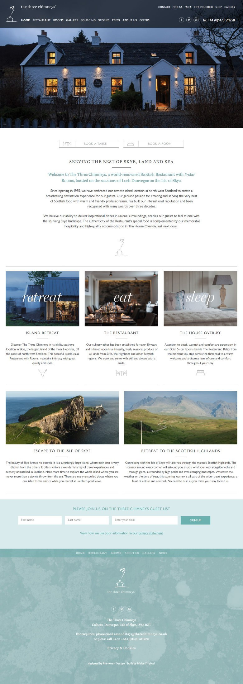 web design for The Three Chimneys