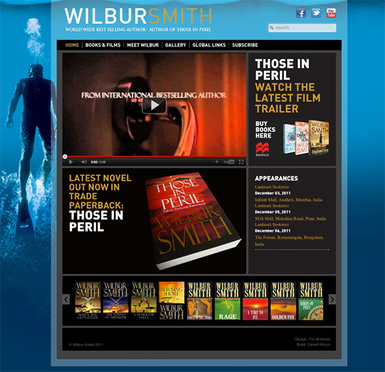 web design for Wilbur Smith - Best Selling Author